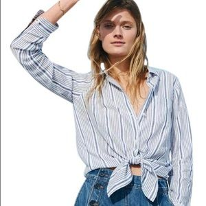 Madewell striped tie front button up F1387 XS